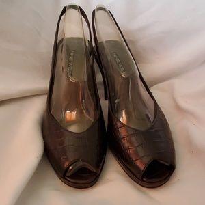 Nine west peep heels brown croc look